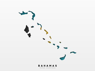 Bahamas detailed map with flag of country. Painted in watercolor paint colors in the national flag Fotoväggar