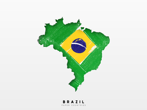 Brazil detailed map with flag of country. Painted in watercolor paint colors in the national flag