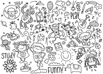 hand drawn kids doodle set,Doodle style,Vector Illustration