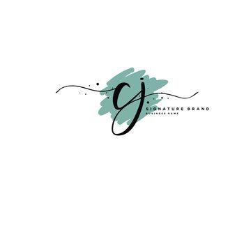 C J CJ Initial letter handwriting and  signature logo.