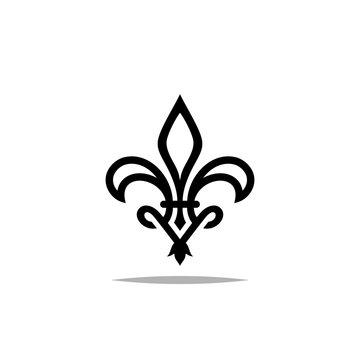 Lily flower logo with letter v design vector illustration