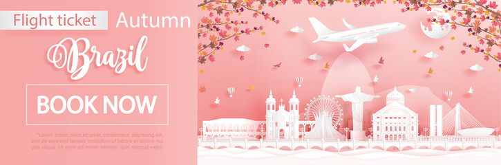 Fototapete - Flight and ticket advertising template with travel concept to Rio de Janeiro, Brazil in autumn season deal with falling maple leaves and famous landmarks in paper cut style vector illustration