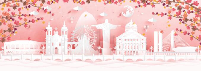 Fototapete - Autumn season with falling maple leaves and Rio de Janeiro, Brazil world famous landmarks in paper cut style vector illustration