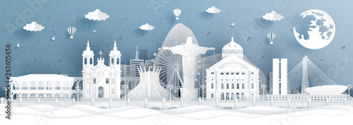 Fototapete Panorama postcard and travel poster of Brazil world famous landmarks in paper cut style vector illustration