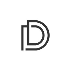 initial letter DD logo linear art design template elements. DD letter Simple and clean flat design