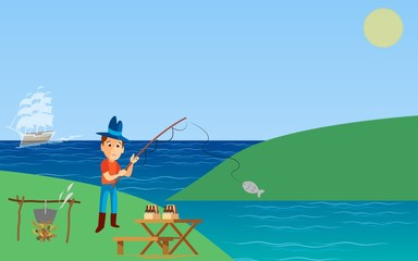 cartoon of men who are fishing in the river