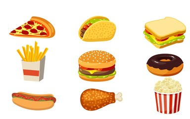Fast food set,Pizza, french fries, hamburgers, sandwiches, popcorn, donuts, hot dogs, chicken, icon, isolated on white background