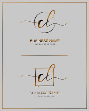Initial C L CL handwriting logo vector. Letter handwritten logo template.
