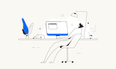 Illustration of man using computer at desk