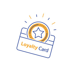 Earn reward, loyalty card, incentive gift, collecting bonus, shopping perks, discount coupon, line icon