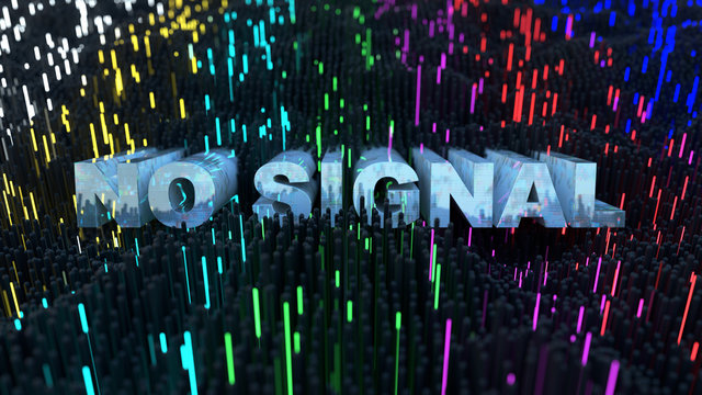 No signal text and glowing SMPTE color bars 3D rendering illustration
