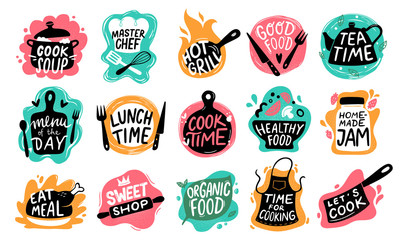 Cooking food lettering. Kitchen badge logos, baking foods typography and cook labels vector set