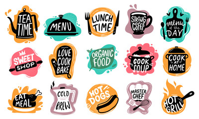 Food lettering. Bakery kitchen sweets, hot dogs badge and organic food logo vector set