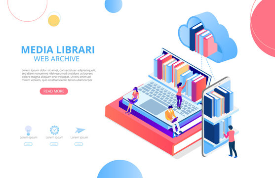 Media library, web archive. Homepage or landing page template with devices, books and people, flat style.