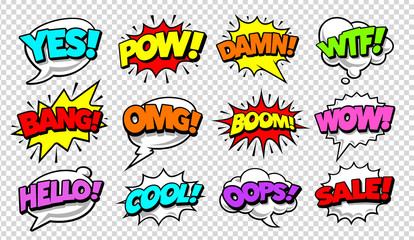 Photo on textile frame Pop Art Comic Speech Bubbles Pop Art Vector Set