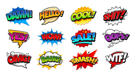 In de dag Pop Art Comic Speech Bubbles Pop Art Vector Set