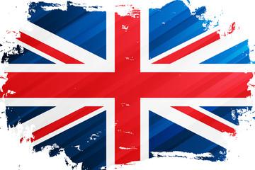 Flag of the United Kingdom brush stroke background. National flag of the United Kingdom. Union Jack. Vector illustration.
