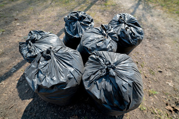 Large black garbage bags.