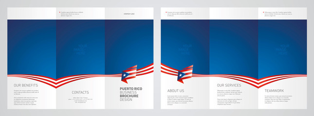 Wavy flag and ribbon of Puerto Rico three fold brochure modern design blue abstract background