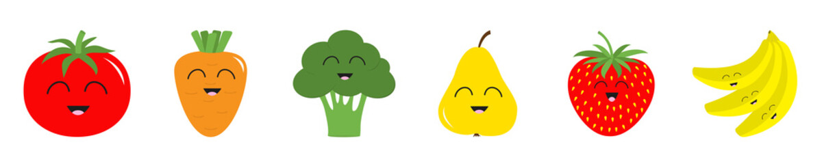 Fruit berry vegetable smiling face icon set line. Pear strawberry banana,Tomato, carrot broccoli. Cute cartoon kawaii character. Flat design. White background.