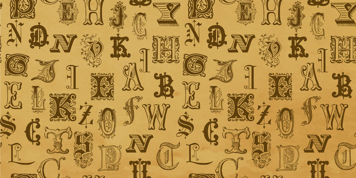 Vintage engraved letters on seamless background