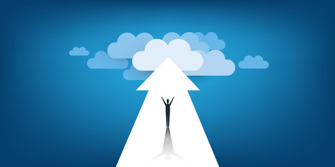 New Possibilities, Hope, Dreams - Business, Solutions Finding Concept - Man Standing on a Big Arrow Pointing to Clouds at the End of the Road