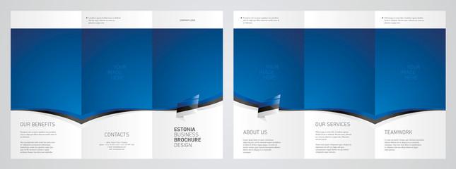 Wavy flag and ribbon of Estonia three fold brochure modern design blue abstract background