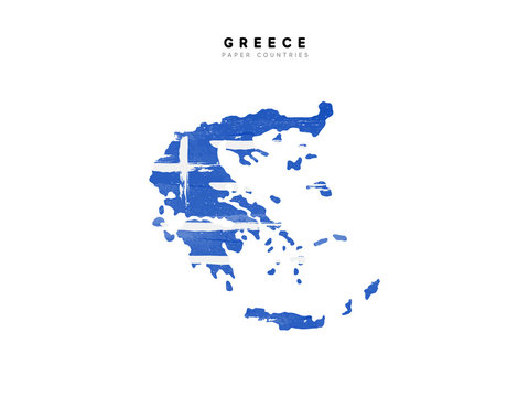 Greece detailed map with flag of country. Painted in watercolor paint colors in the national flag