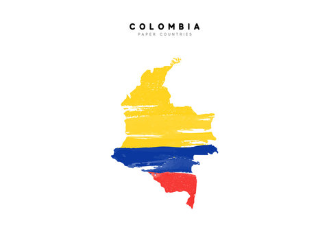Colombia detailed map with flag of country. Painted in watercolor paint colors in the national flag