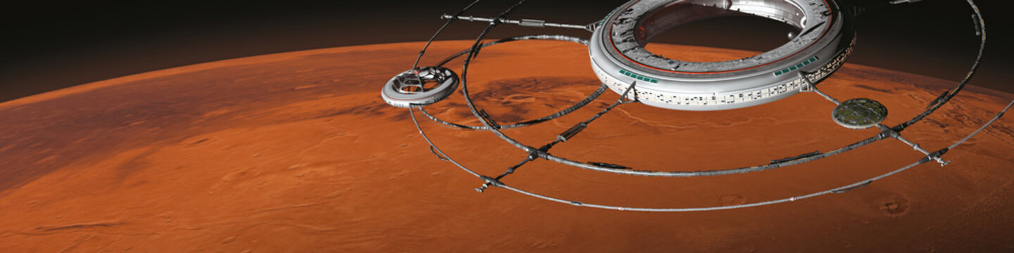space station with spaceship in orbit of planet Mars (3d science fiction background illustration, elements of this image are furnished by NASA)