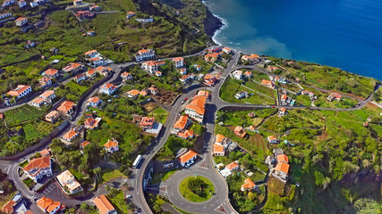 Wall Mural - Beautiful mountain landscape of Madeira island, Portugal. Aerial view. 4K drone footage.