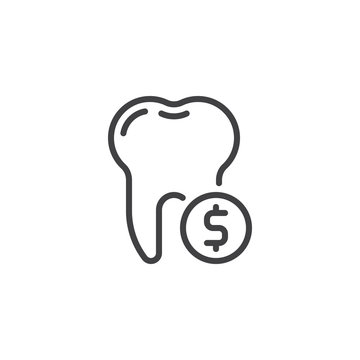 Tooth and dollar coin line icon. linear style sign for mobile concept and web design. Tooth and money outline vector icon. Dental saving money symbol, logo illustration. Pixel perfect vector graphics