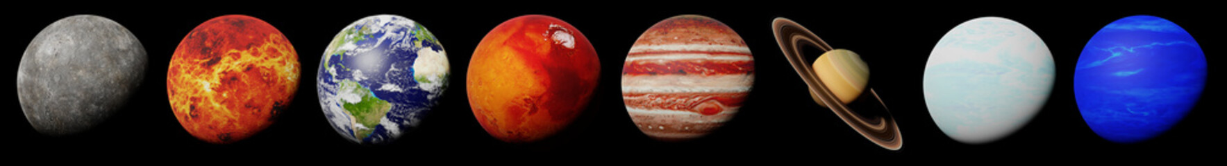 the planets of the solar system isolated on black background (3d science illustration banner, elements of this image are furnished by NASA)