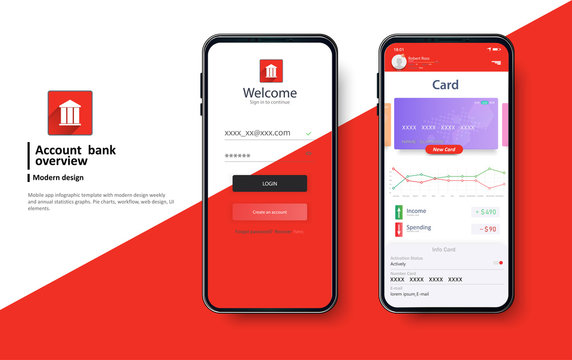 Banking red App UI Kit for responsive mobile app or website  layout including Login. login and password input, home page, payment information, ratings and statistics .Vector flat