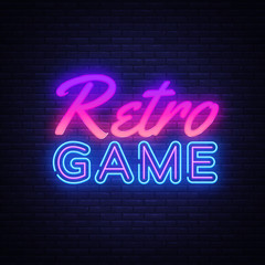 Retro Games neon sign vector. Gaming Design template neon sign, light banner, neon signboard, nightly bright advertising, light inscription. Vector illustration