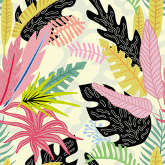 Wall Mural - Cartoon tropical leaves flat style
