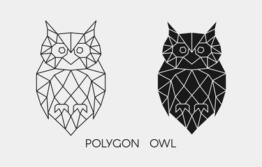 Foto op Plexiglas Uilen cartoon Abstract polygonal owl. Geometric linear animal. Vector.