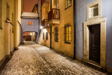 Street in Old Town of Warsaw at Night