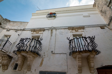 Beautiful facade of building in Puglia. Mediterranean architecture of Southern Italy. Scenery...
