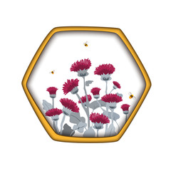 Wall Mural - Vector template label with hand draw thistles and bees in hexagon honey comb. Design for honey labels, cosmetics shop, natural and herbal products.