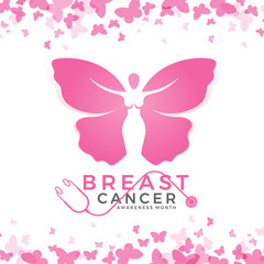 Breast cancer awareness month with pink women butterfly sign and abstract butterfly frame background vector design