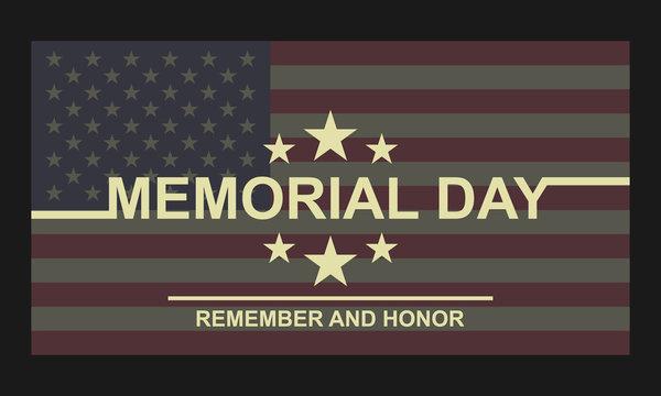 Memorial Day card vector illustration.
