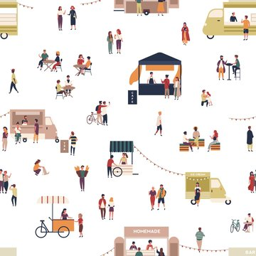 Seamless pattern with people walking among trucks or stalls, buying homemade meals, eating and drinking at outdoor cafe, street food festival. Flat cartoon vector illustration for textile print.