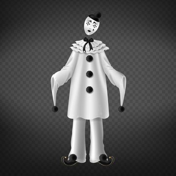 Pierrot isolated on transparent background. Theater comedian romantic character in black and white costume. Personage of italian comedy del arte, performance scene. Realistic 3d vector illustration.