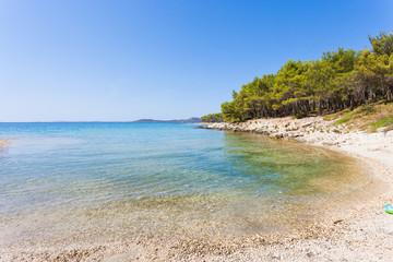 Pine beach, Pakostane, Croatia - Visiting the turquoise bay of Pakostane