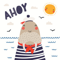 Poster Illustrations Hand drawn vector illustration of a cute walrus sailor, with sea waves, seagulls, lettering quote Ahoy. Isolated objects on white background. Scandinavian style flat design. Concept for children print