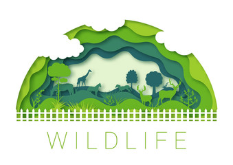 Paper cut abstract. Wildlife zoo environment, 3d paper art vector origami design