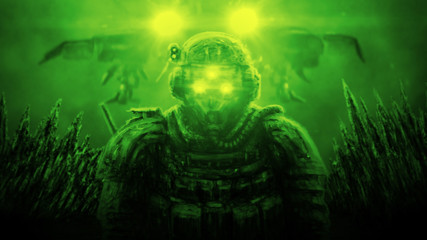 Soldier stands against backdrop of spaceship landing on green background