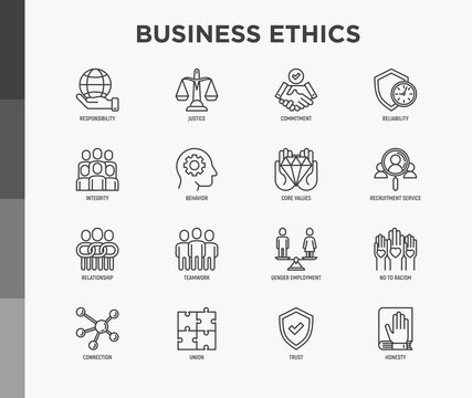 Business ethics thin line icons set: connection, union, trust, honesty, responsibility, justice, commitment, no to racism, teamwork, gender employment, core values. Modern vector illustration.