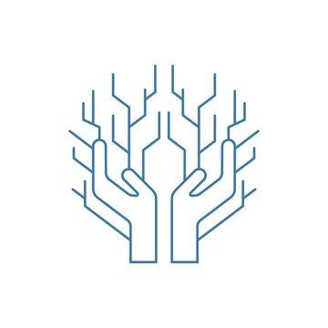 hand and tree technology logo illustration